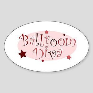 """""""Ballroom Diva"""" [red] Oval Sticker"""